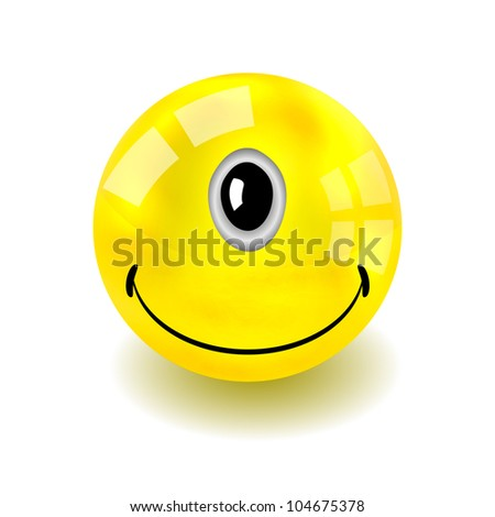 Vector one-eyed yellow face isolated on white. Eps10 - stock vector