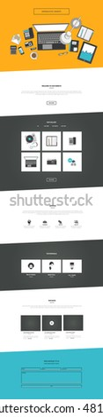 Vector One Page Website Template in flat design, with top view of office supplies. Editable Vector Illustration