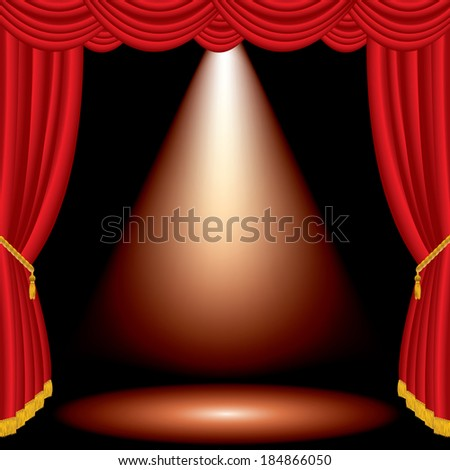 vector one red spot on stage with red curtain - stock vector