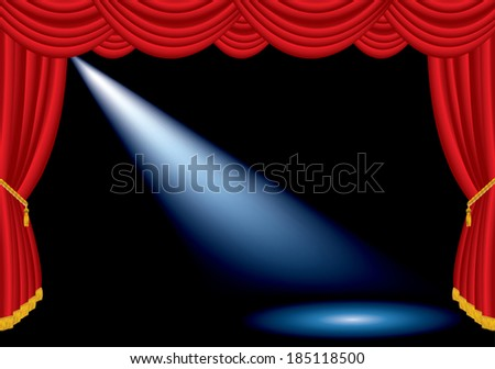 vector one spotlight on stage with red curtain  - stock vector