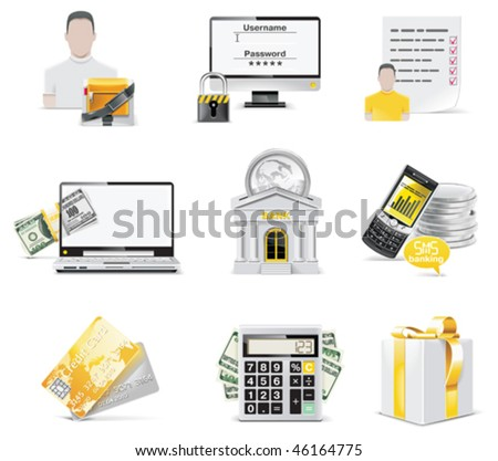 Vector online banking icon set. Part 2 - stock vector
