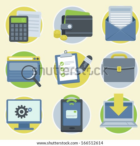 Vector online business icons and illustrations in flat modern style - stock vector