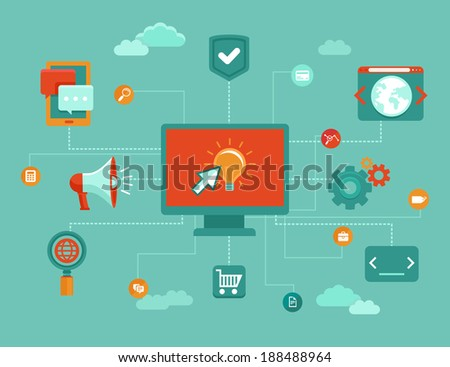 Vector online concept - internet marketing and buseness icons and design elements in flat style - stock vector