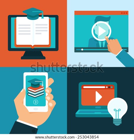 Vector online education concepts in flat style - mobile phone and computers with educational app in the screen - distant e-learning - stock vector