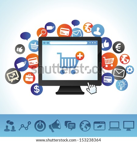 Vector online shopping concept - computer and technology icons - stock vector