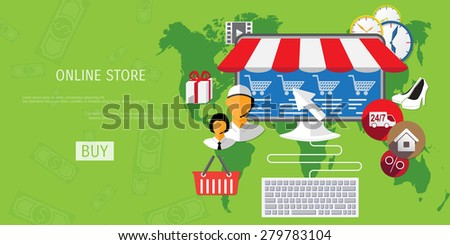 Vector online shopping concept illustration. Web shop. Internet store. E-commerce and internet banking. - stock vector
