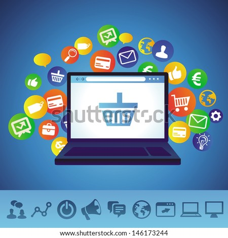 Vector online shopping concept - laptop and technology icons - stock vector