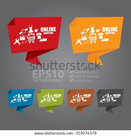 Vector : Online Shopping Origami Speech Bubble or Speech Balloon Infographics Sticker, Label, Sign or Icon - stock vector