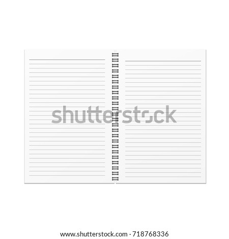 Vector Open Blank Notebook Horizontal Line Stock-Vektorgrafik ...