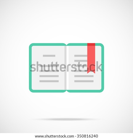 Vector open book icon. Flat book icon. Flat design vector illustration concept for web banner, web and mobile application, infographics. Book icon graphic. Vector icon isolated on gradient background - stock vector