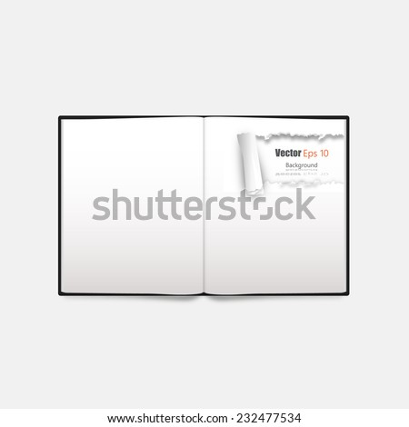 Vector Open book with ripped page isolated on white background  - stock vector