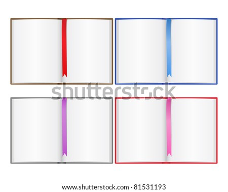 Vector open books with bookmarks - stock vector