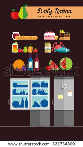 Vector open fridge full of healthy fresh food. Natural vegetables and fruit in flat style. Diet or lifestyle illustration. Daily meal, organic ration. Kitchen staff - stock vector