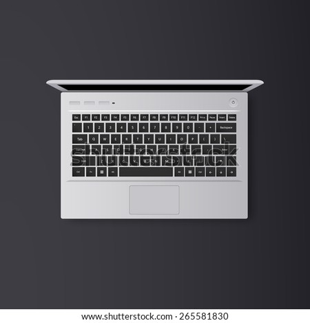 Vector open laptop isolated. Realistic illustration. - stock vector
