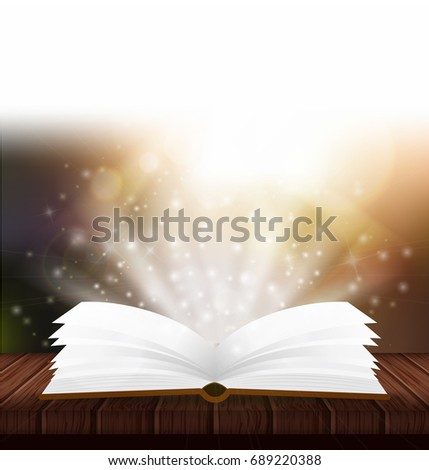 Vector open magic book. Magic poster with book and bright light