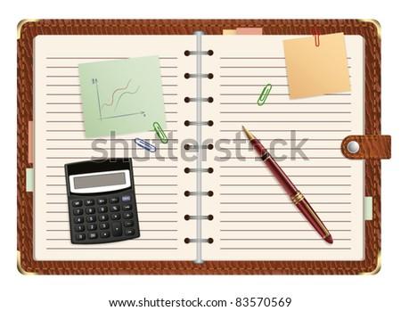 vector open organizer - stock vector