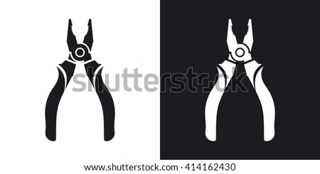 Vector Open Pliers icon. Two-tone version of Open Pliers simple icon on black and white background - stock vector