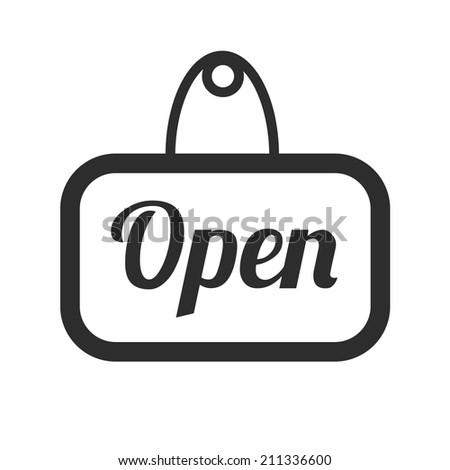 Vector Open Sign Black Icon