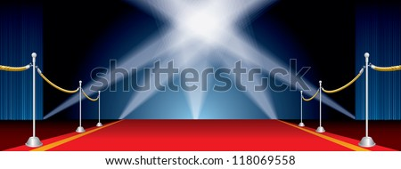 vector opened wide stage with five spotlights - stock vector