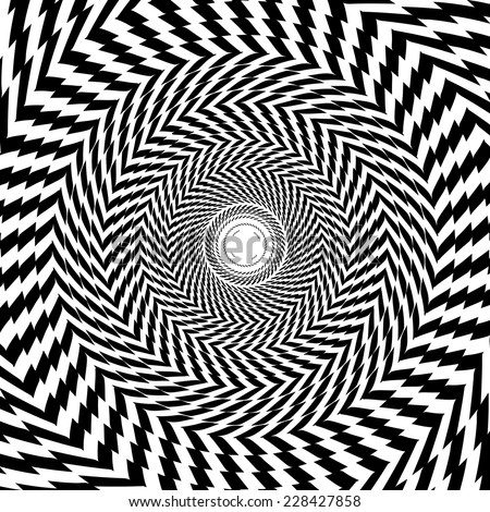 Vector optical illusion zoom black and white hypnotic background  - stock vector