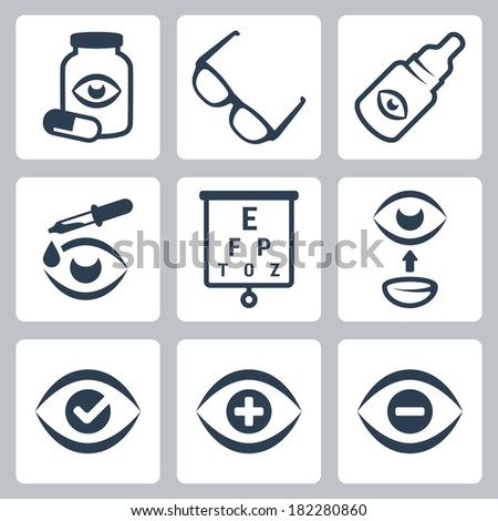 Vector optometry icons set - stock vector