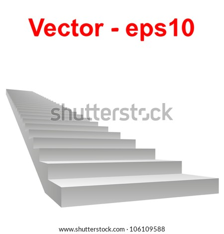Vector or vectorial concept or conceptual 3D white concrete stair isolated on white background, for business,progress,achievement,growth,career,success,development,faith,religion or vision designs - stock vector