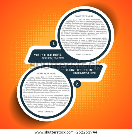 Vector orange background diagram with two steps - stock vector