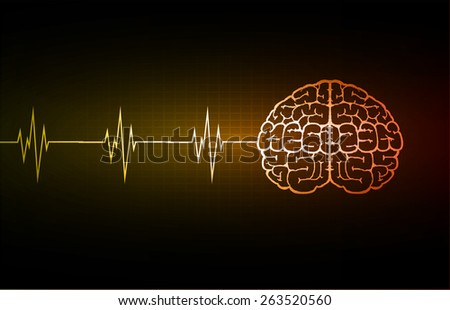 vector orange brain processes technology, creative idea concept. wave - stock vector