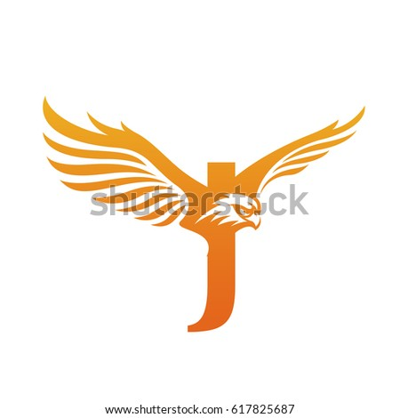 Vector Orange Flying Eagle Corporate Initial J Logo