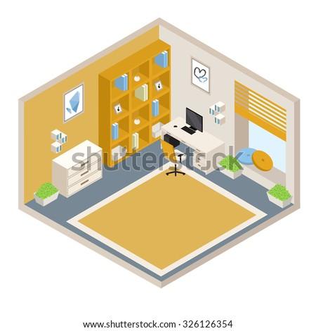 vector orange isometric room with furniture - stock vector