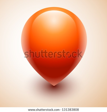 Vector orange map location pointer icon - stock vector
