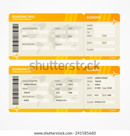 Vector Orange Modern Airline boarding pass tickets isolated on white - stock vector