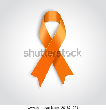 Vector Orange ribbon symbol of Animal Abuse, leukemia awareness, kidney cancer association, hunger - stock vector