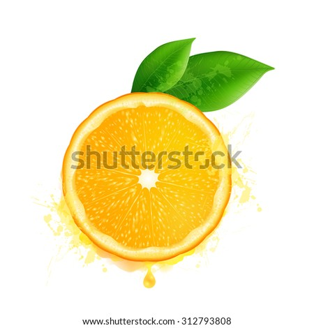 Vector orange slice with leaves and watercolor drops effect - stock vector