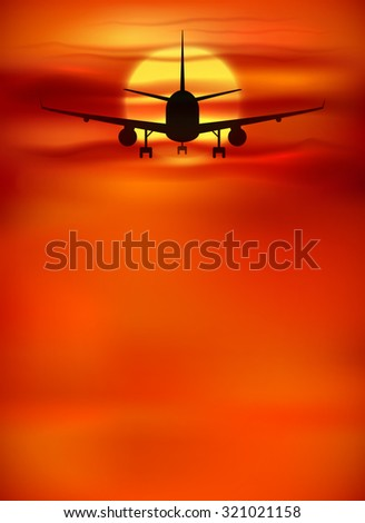 Vector orange sunset background with black plane silhouette - stock vector