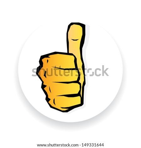 "vector orange thumb up icon. symbol of good job .""i like it"" sign. - stock vector"