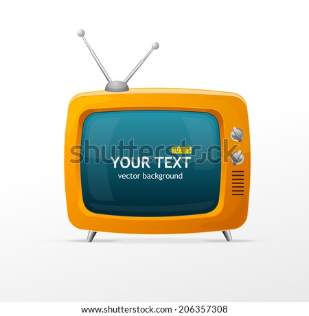 Vector orange TV blank on white background - stock vector