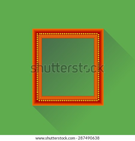 Vector Orange Wooden Frame Isolated on Green Background. Long Shadow. - stock vector