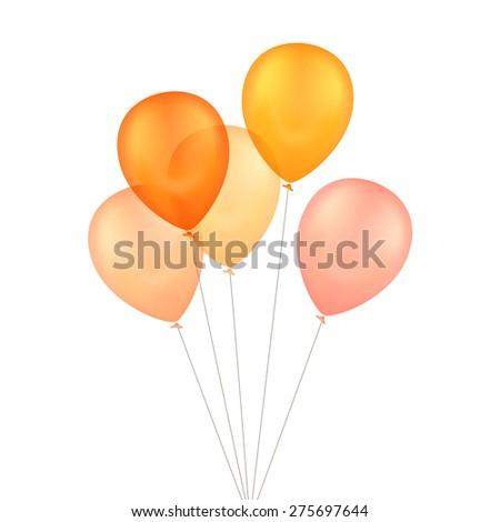 Vector Orange Yellow Balloons Isolated on White Background - stock vector