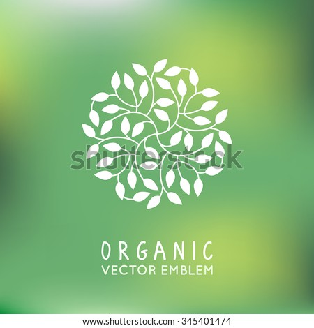 Vector organic and natural emblem and logo design template - green ecology concept or natural cosmetics - circle made with leaves - stock vector