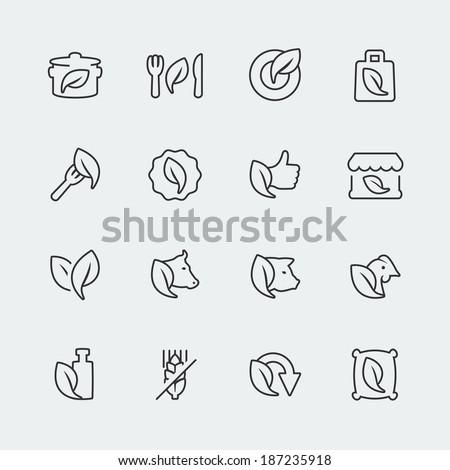 Vector organic and vegetarian food mini icons set - stock vector