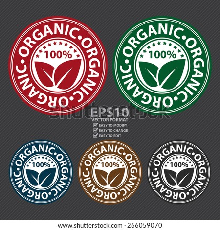 Vector : 100% Organic Badge, Label, Sticker, Banner, Sign or Icon - stock vector