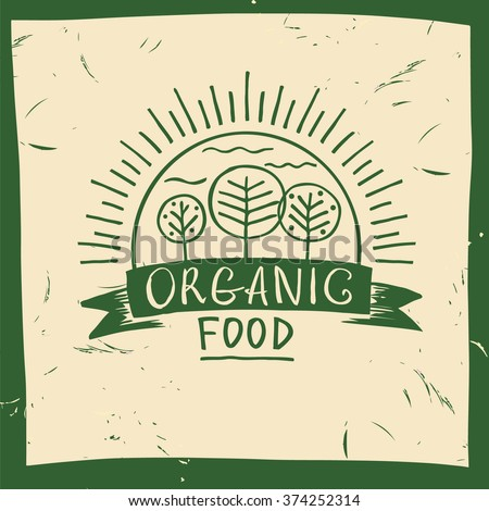 Vector organic food. Hand drawn three fruit trees and the sun. The garden, growing the crop. Lettering organic food logo. - stock vector