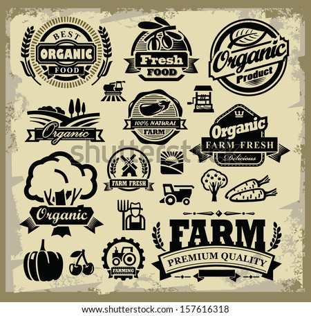vector organic harvest labels set on grunge - stock vector