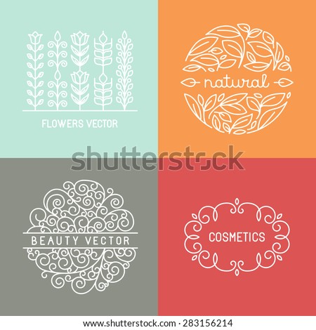 Vector organic labels and emblems in trendy linear style - mono line design elements - stock vector