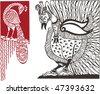 vector oriental bird design - stock vector