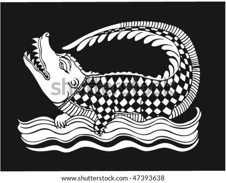 vector oriental crocodile design - stock vector