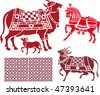 vector oriental domestic animals design - stock vector