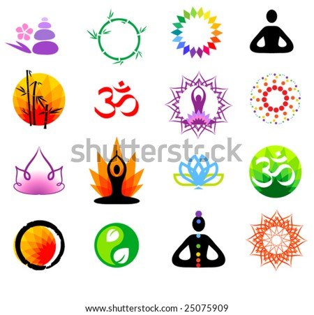 vector oriental icons set - stock vector