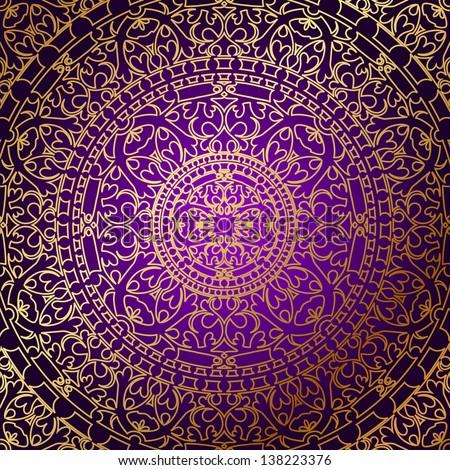 Vector oriental purple background gold ornament stock for Tapete orientalisch turkis